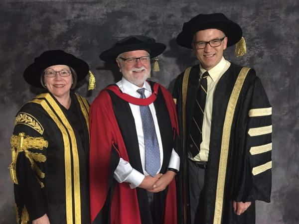 (L-R) Dalhousie Chancellor Anne McLellan, Dr. Kenneth Craig, and Dalhousie President Dr. Richard Florizone