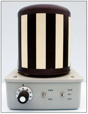 Nystagmus drum used to induce rhythmic, oscillating movements of the eye circa 1950s