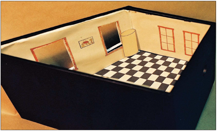 Model of the Trapezoidal Room Illusion, built for Professor Stanley Coren to represent a miniature version of a full-scale room (1977)
