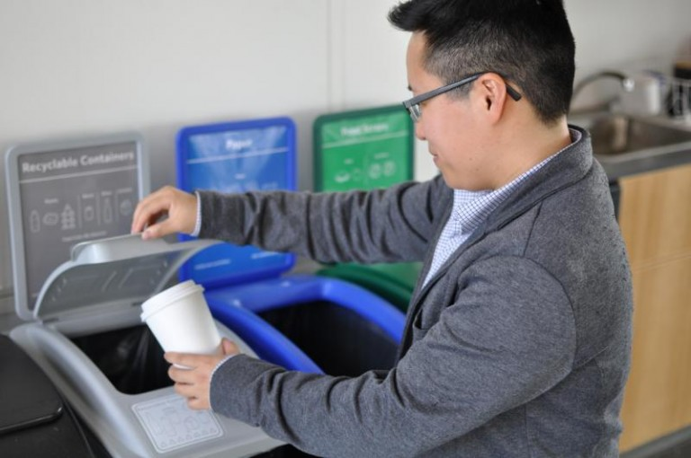 Dr. Jiaying Zhao 'Sorting it Out' at a UBC sorting station. Photo: UBC Sustainability Initiative, Joao Correa.
