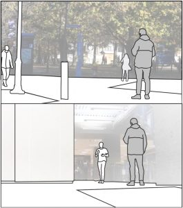 Example camera angles from the outside (top) and indoor (bottom) locations. Confederate is grey shaded figure, approaching pedestrians are represented as white shaded figures.