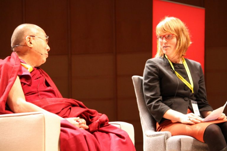 Kiley Hamlin shares her research on early moral cognition with the Dalai Lama