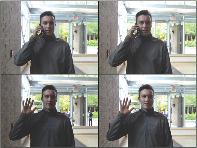Illustrative confederate actions. Final hand positions for the conditions in which the confederate raised his hand to answer a phone (top) or wave (bo ttom), with eyes positioned either straight ahead (left) or tracking the passing pedestrians (right)