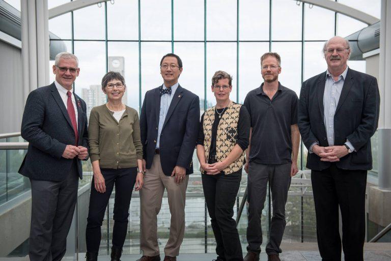 UBC's 2015/16 University Killam Professors. L-R: Dr. Julio Montaner, Dr. Janet Werker, Dr. Santa J. Ono, Dr. Sarah Otto, Dr. Loren Rieseberg, Dr. Robert E.W. Hancock. Not pictured: Dr. Daniel Pauly.